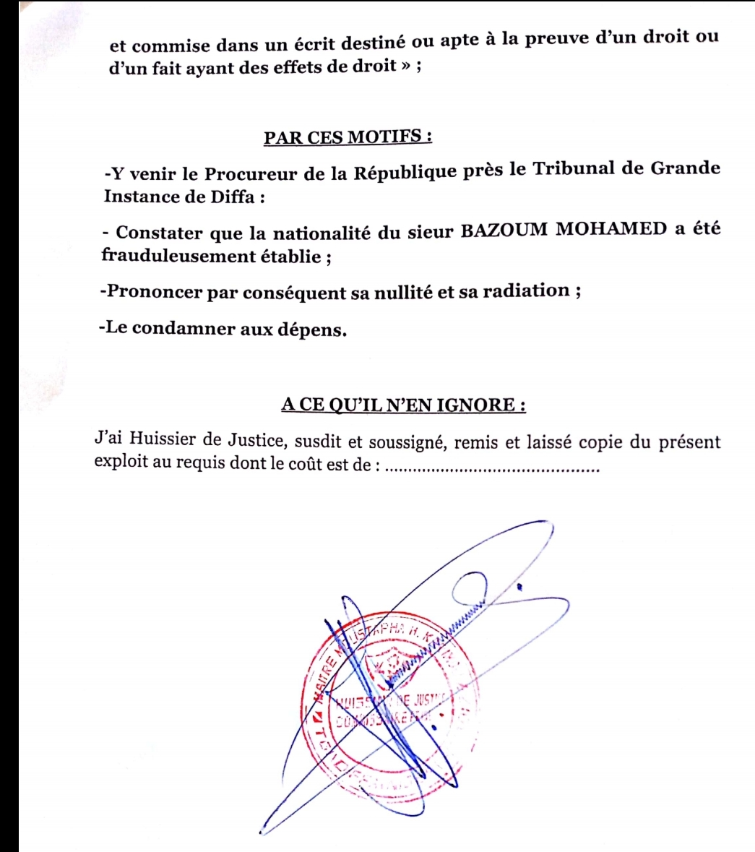 Diffa/Urgent : le certificat de nationalité du candidat Mohamed BAZOUM attaqué en justice